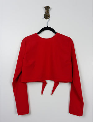 Open back crop top ~ Bright Red Crepe - auslästudio