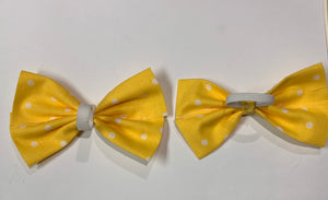 Yellow Polka Dot Bow - stellas-styles-studio