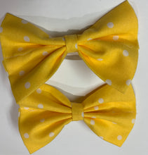 Load image into Gallery viewer, Yellow Polka Dot Bow - stellas-styles-studio