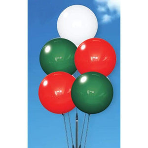balloons Holiday Colors Reusable Vinyl Balloon Cluster Kit With Ground Stake Pole - 5 Balloons Pro Property Supply