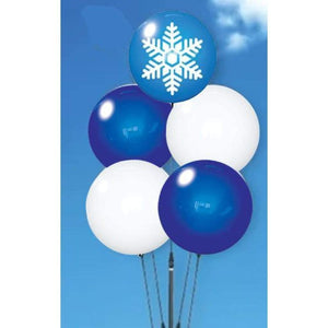 balloons Snowflake Image Reusable Vinyl Balloon Cluster Kit With Ground Stake Pole - 5 Balloons Pro Property Supply