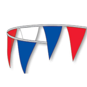 Flags RWB 105' Triangle Shaped Pennant Streamers Pro Property Supply