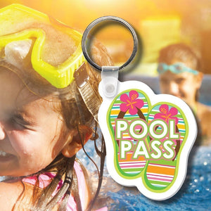 Pool Pass Tag Soft Vinyl Flip-Flop Design- 100 pieces-Pool Passes-Pro Property Supply