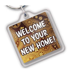 key tags Welcome to your new home Shaped Acrylic Key Tags Pro Property Supply