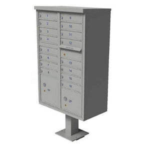 Maintenance Postal Gray Mail Box Cluster 16 Slot Unit with 2 Parcel Boxes Pro Property Supply