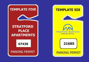 parking permits CUSTOM HANGING PARKING PERMITS - SNUG FIT - 2.75 X 4.75 Pro Property Supply