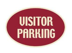 Parking Signs Visitor Parking Oval Sign - Maroon Pro Property Supply