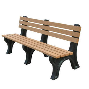 playground Brown 6′ Bench Maintenance-Free With Black Frame Pro Property Supply