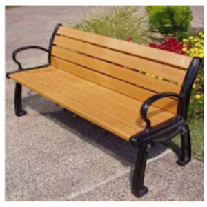 playground Cedar Heritage Style Bench with Arms 6ft. Recycled Plastic Pro Property Supply