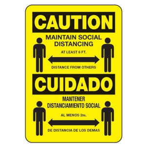signs Bilingual Sign - Caution Maintain Social Distancing Pro Property Supply
