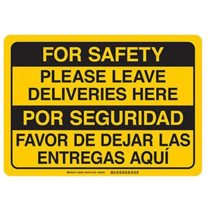 signs Bilingual Sign - For Safety Please Leave Deliveries Here Pro Property Supply