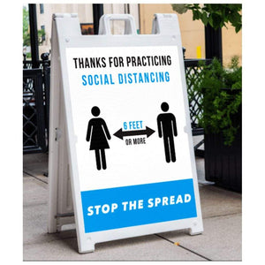 signs Thanks for Practicing Social Distancing A-Frame Sign Pro Property Supply