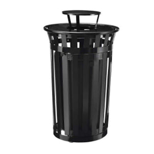 Trash Management Black Outdoor Trash Receptacle with Access Door and Rain Bonnet Pro Property Supply