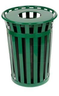 Trash Management Green Flat Top Outdoor Metal Waste Receptacle - 36 Gallon Pro Property Supply