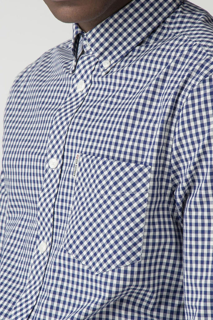 Blue & White Checkered Gingham Long Sleeve Shirt - Life in Paradigm