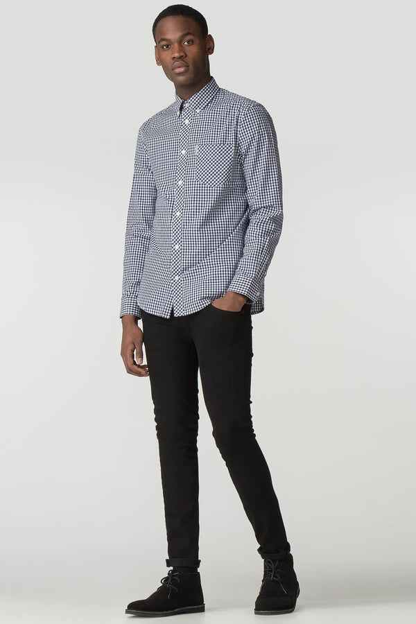 Blue & White Checkered Gingham Long Sleeve Shirt - Life in Paradigm Menswear London