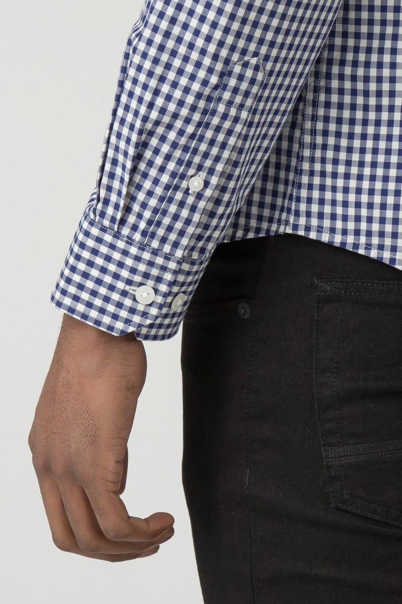 Blue & White Checkered Gingham Long Sleeve Shirt- Ben Sherman