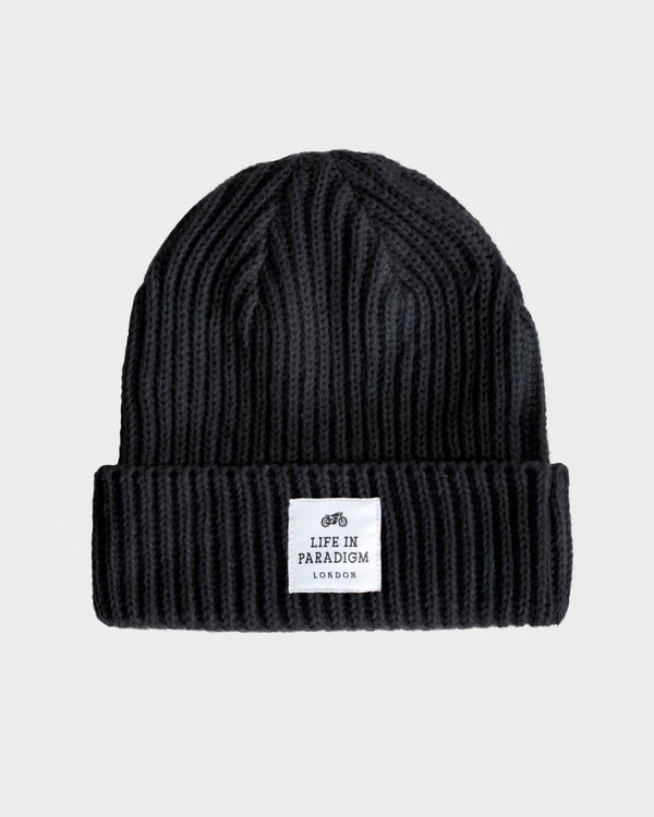 Black Ribbed Fisherman Beanie - Life in Paradigm Menswear London