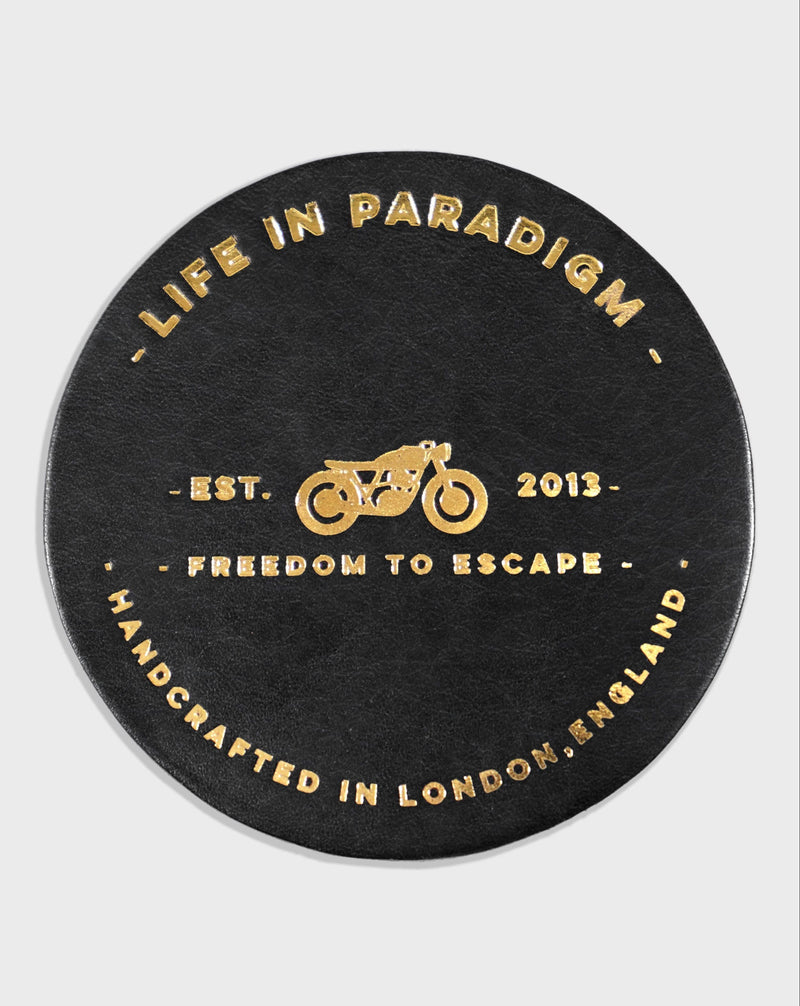 Black Leather Drinks Coaster - Life in Paradigm Menswear London