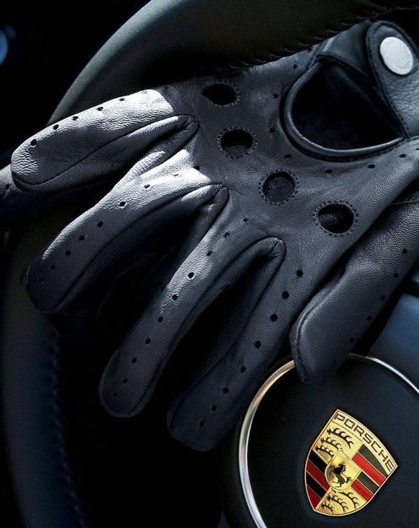 Black Leather Driving Gloves with Knuckle Holes - Life in Paradigm Menswear London