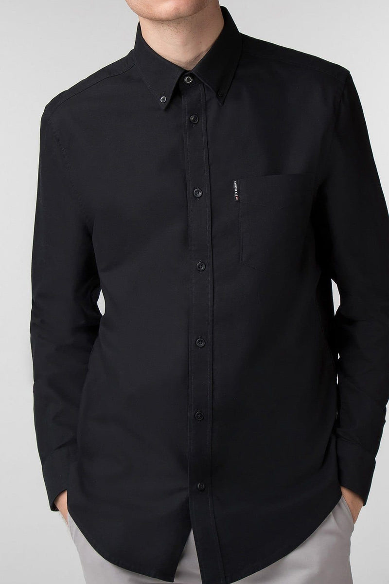 Black Long Sleeve Oxford Shirt - Life in Paradigm Menswear London
