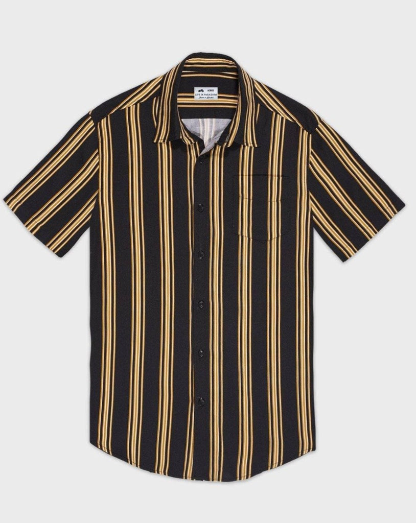Black and Mustard Striped Short Sleeve Shirt - Life in Paradigm