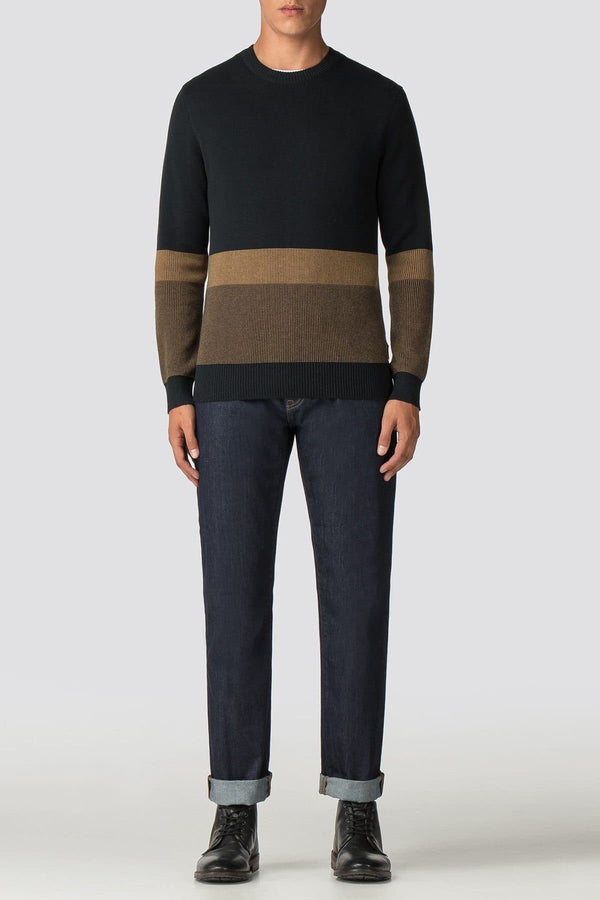 Black & Tobacco Crew Neck Jumper - Life in Paradigm Menswear London