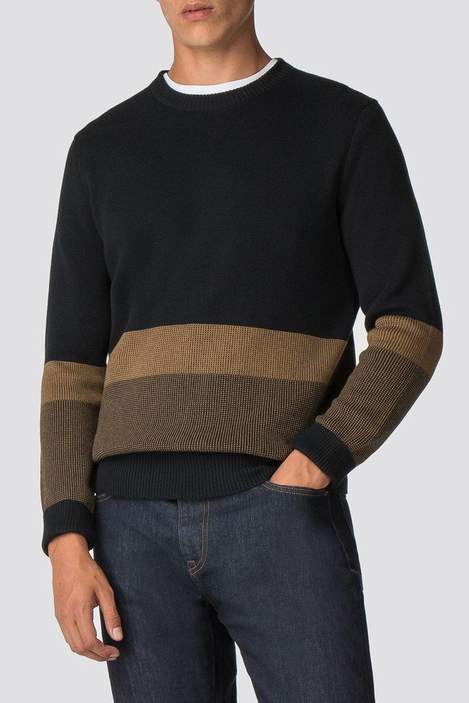 Black & Tobacco Crew Neck Jumper - Life in Paradigm