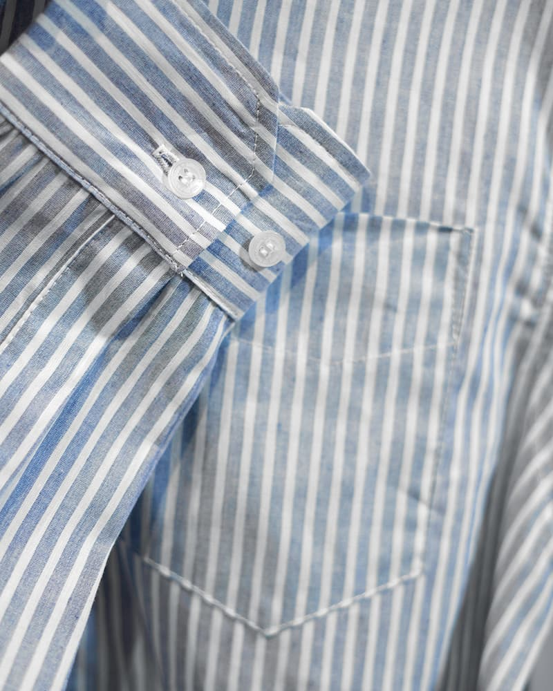 Blue and White Striped Oxford Shirt - Life In Paradigm