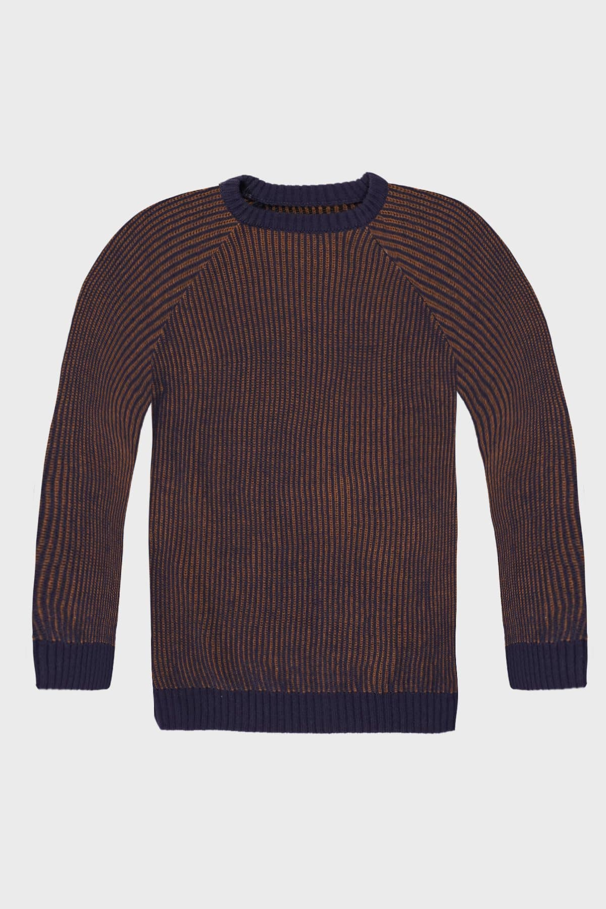 Blue & Brown Stripped Knitted Jumper - Life in Paradigm Menswear London