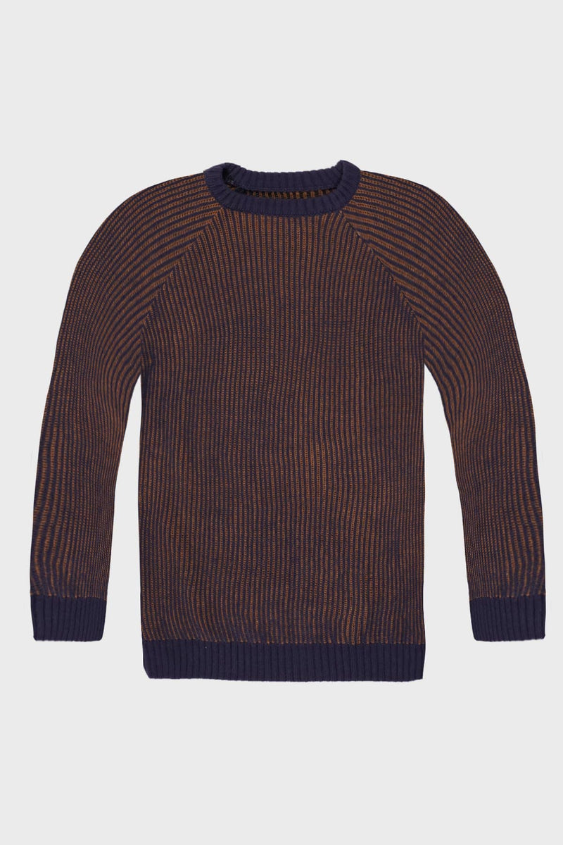 Blue & Brown Stripped Knitted Jumper - Life in Paradigm