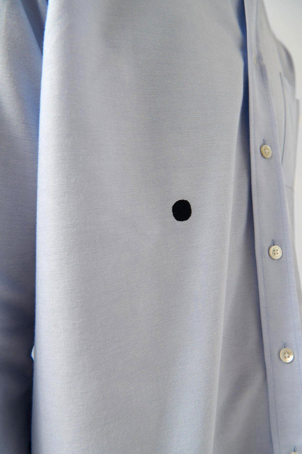 Blue Oxford Shirt Navy Dot - Life in Paradigm Menswear London