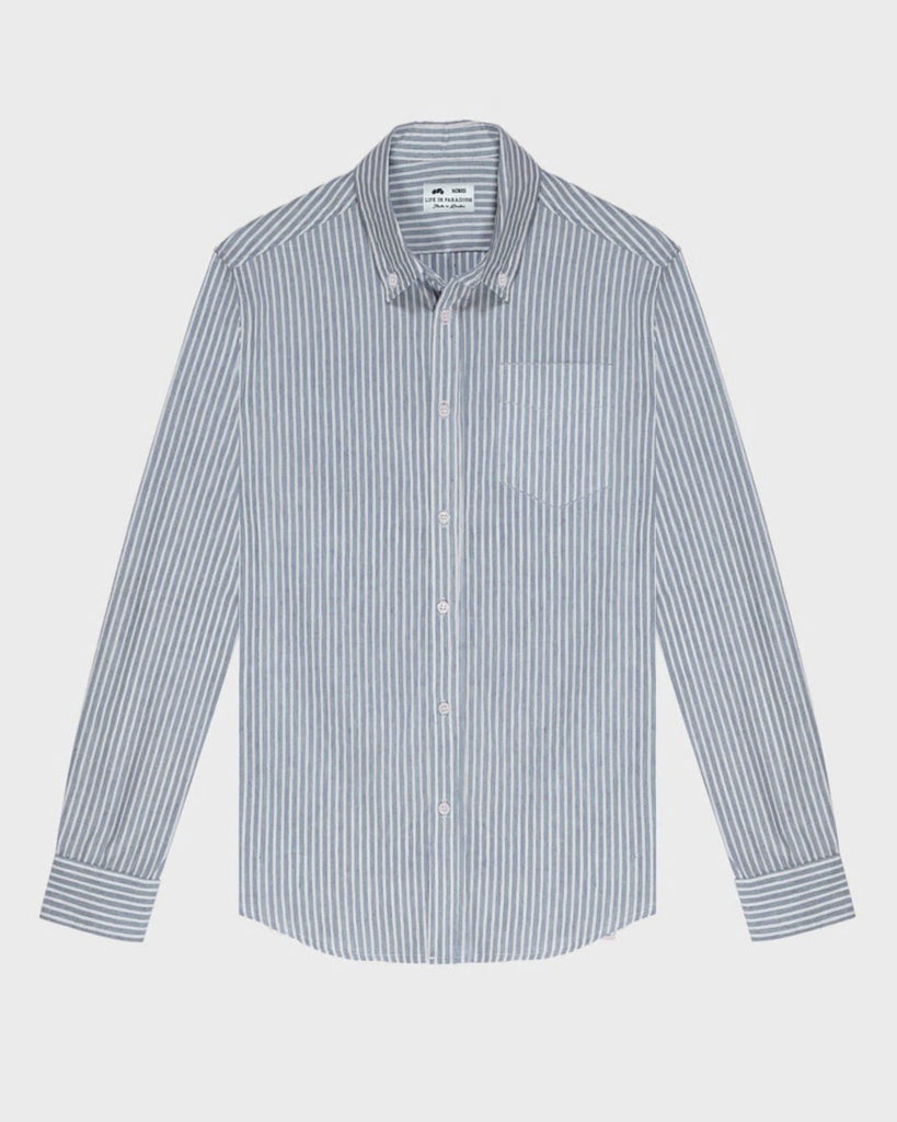 Blue and White Stripped Oxford Shirt - Life in Paradigm Menswear London