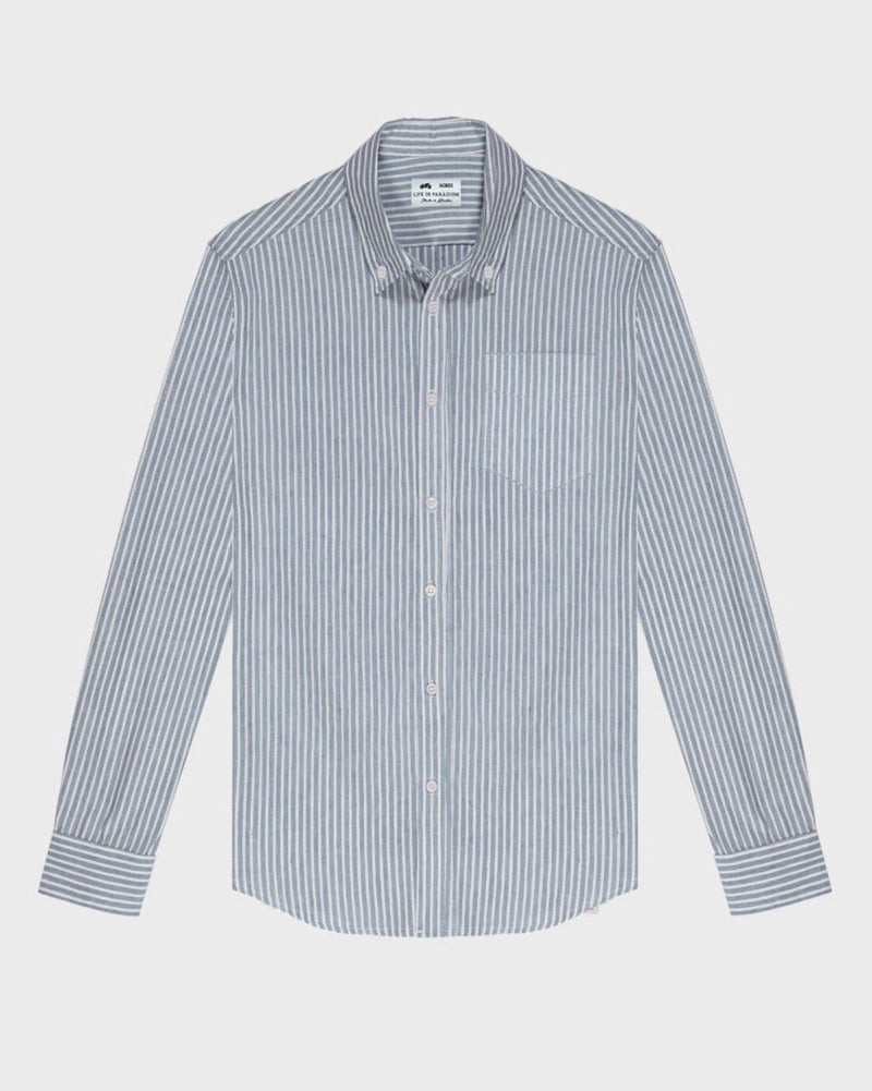 Blue and White Striped Oxford Shirt - Life in Paradigm Menswear London