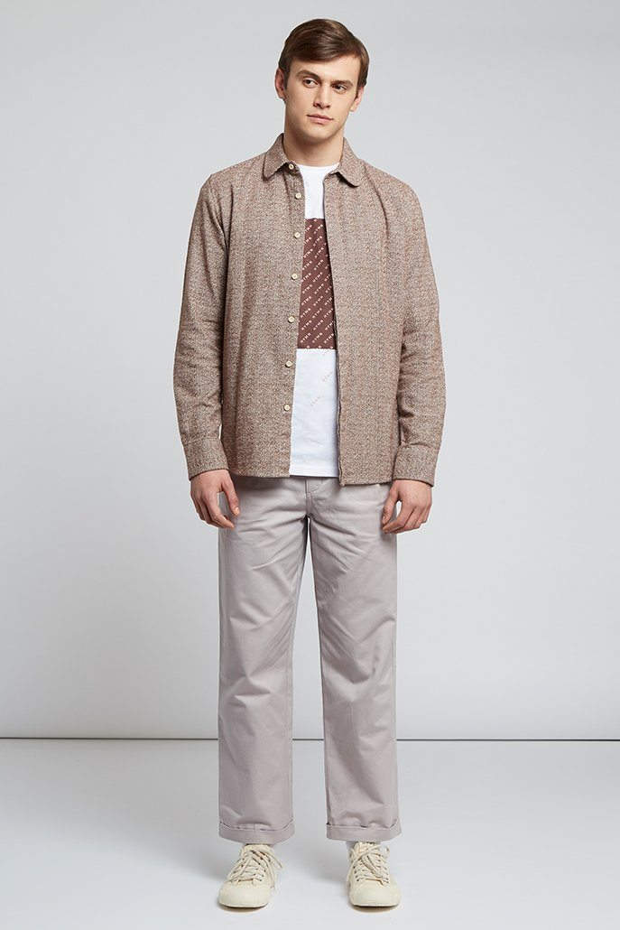Oatmeal Brown Curved Collar Shirt - Life in Paradigm