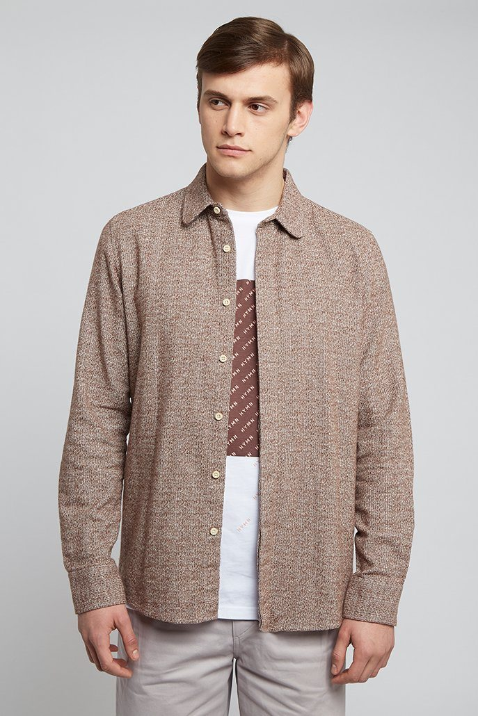 Oatmeal Curverd Collar Shirt - HYMN LONDON