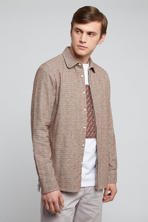 Oatmeal Brown Curved Collar Shirt - Life in Paradigm Menswear London