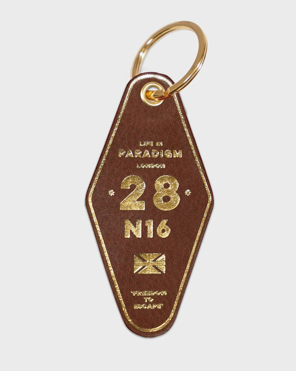 Brown Leather Hotel Style Keyring - Life in Paradigm Menswear London