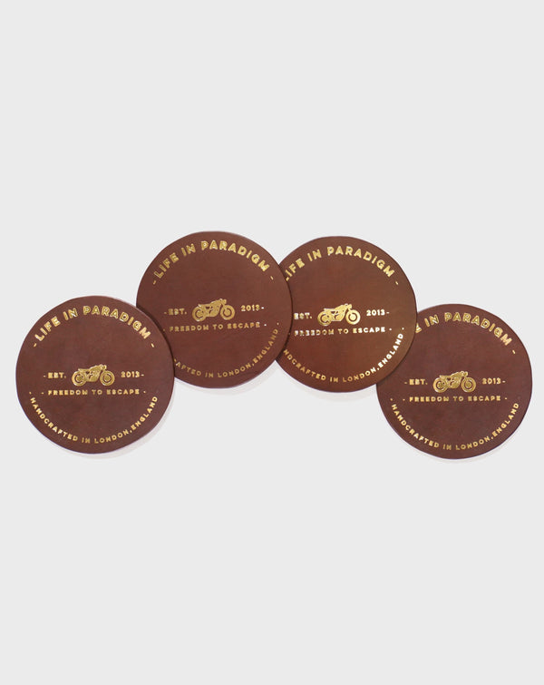 Brown Leather Drinks Coaster - Life in Paradigm Menswear London