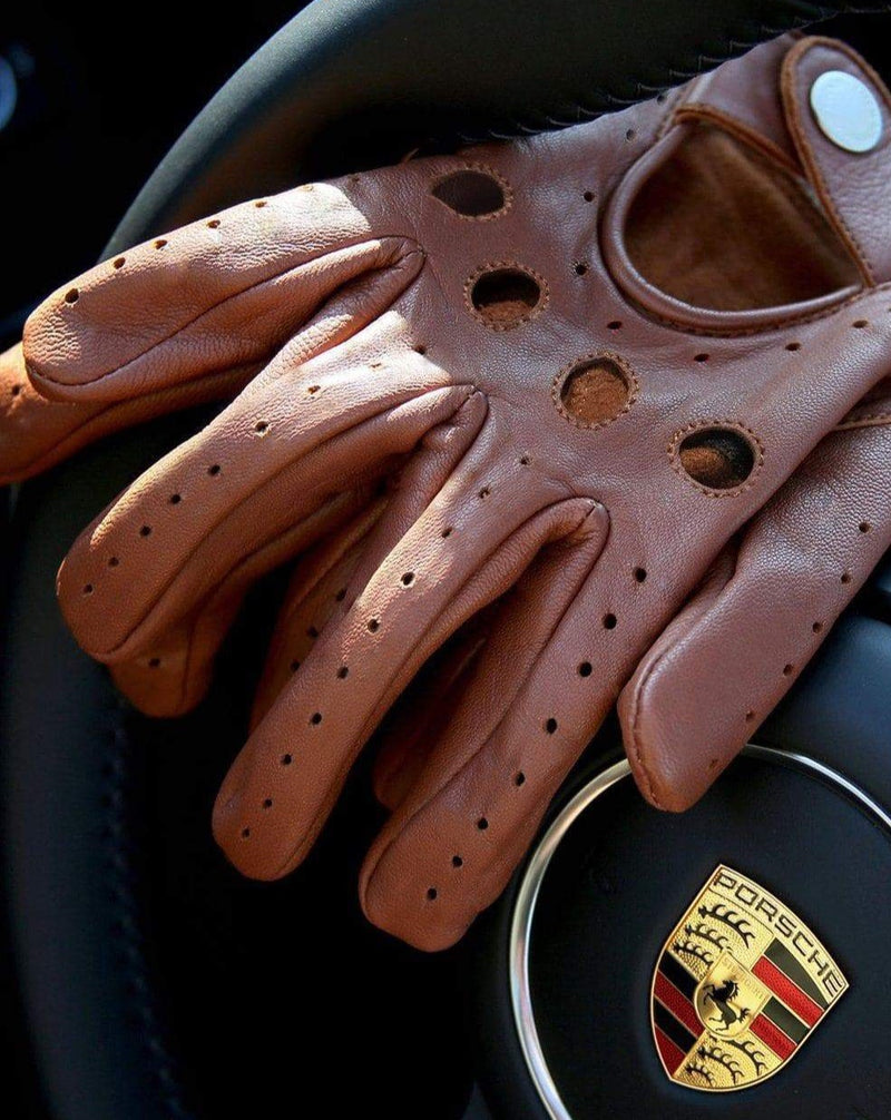 Brown Leather Driving Gloves with Knuckle Holes