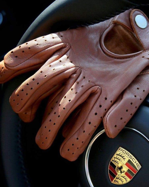 Brown Leather Driving Gloves - Life in Paradigm Menswear London