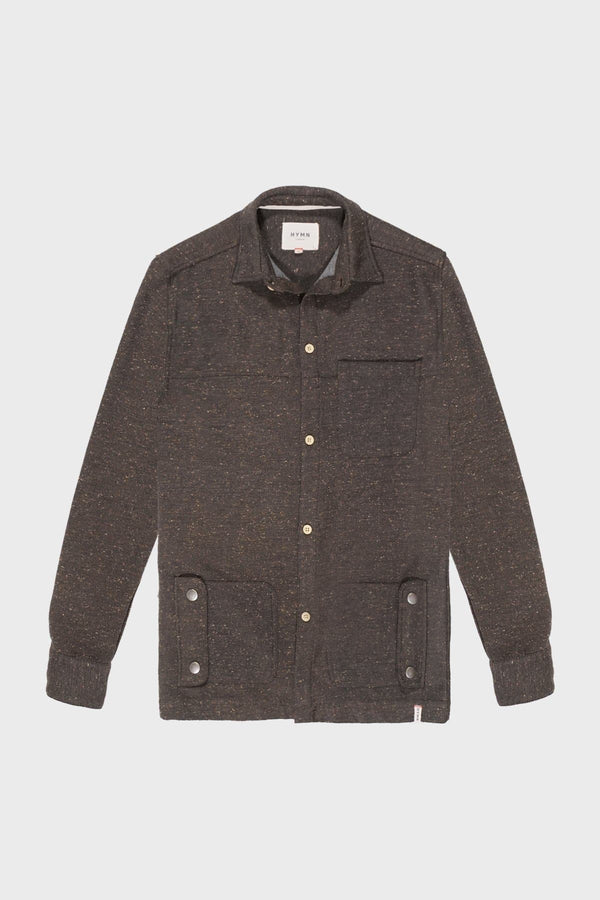 Brown & Oatmeal Speckled Over shirt - Life in Paradigm Menswear London