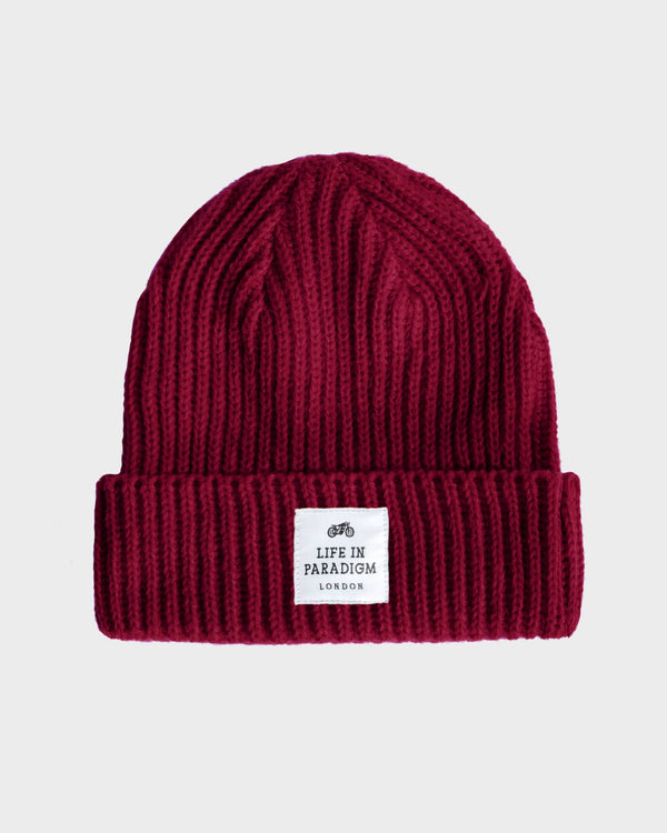 Burgundy Ribbed Fisherman Beanie - Life in Paradigm Menswear London