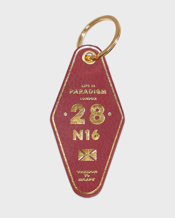 Burgundy Leather Hotel Style Keyring - Life in Paradigm Menswear London