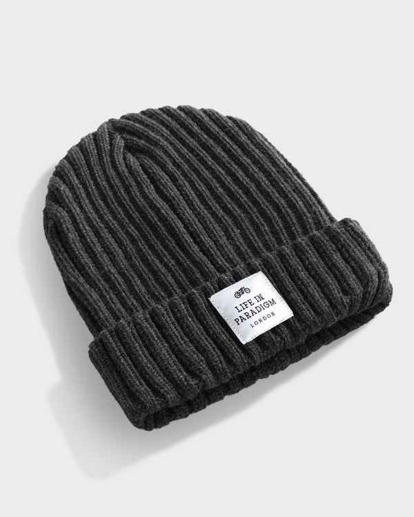 Charcoal Grey Ribbed Beanie - Life in Paradigm Menswear London