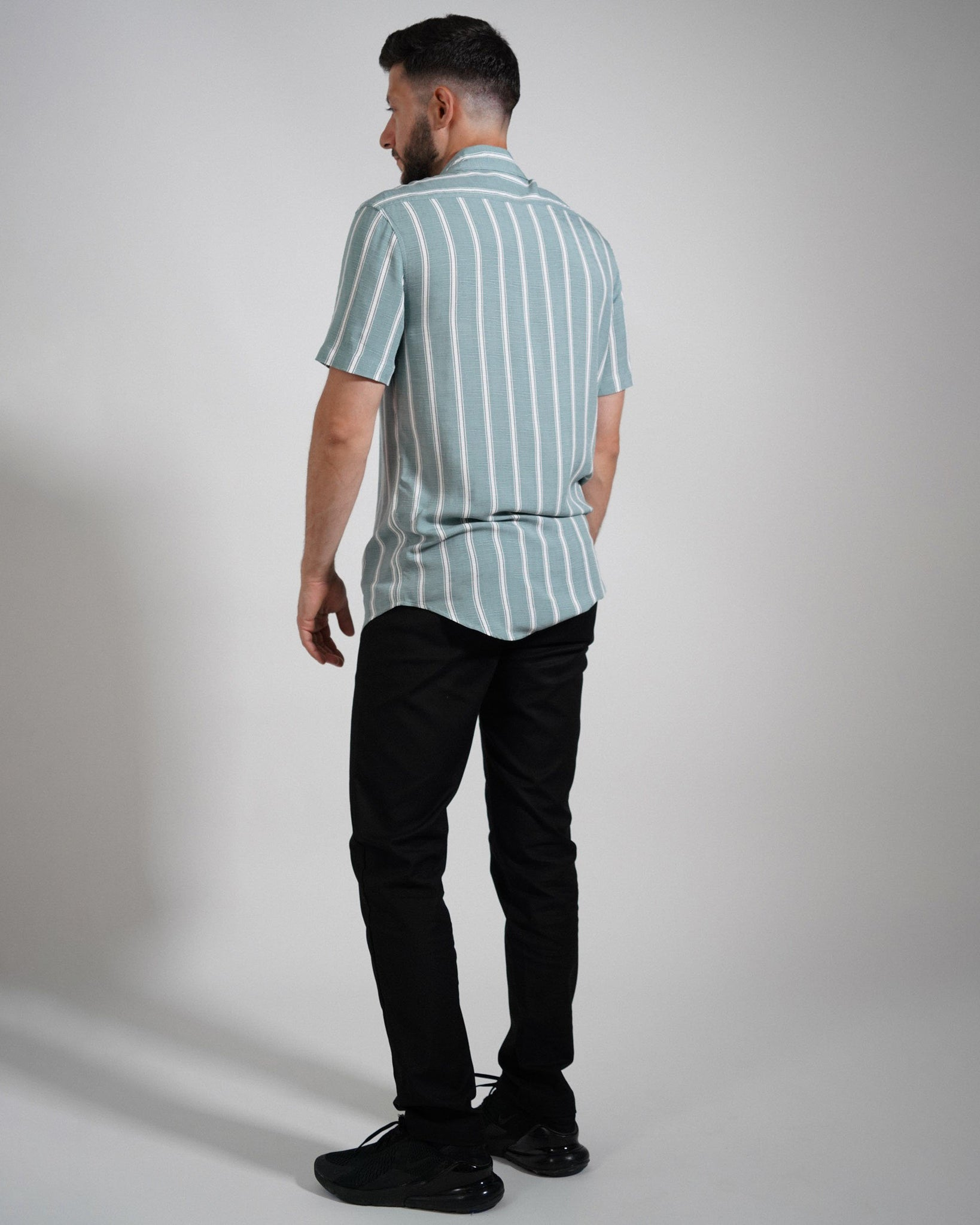 Green and White Striped Short Sleeve Shirt - Life in Paradigm Menswear London