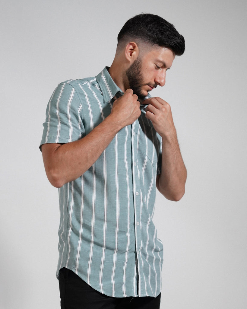 Green and White Striped Short Sleeve Shirt - Life in Paradigm