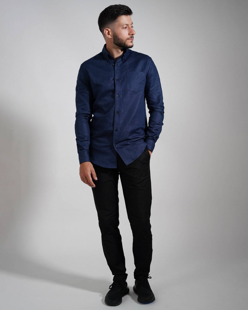 Midnight Blue Oxford Shirt - Life in Paradigm Menswear London