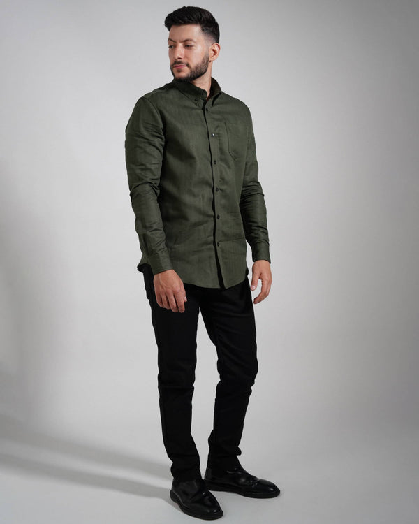 Forest Green Oxford Shirt - Life in Paradigm Menswear London