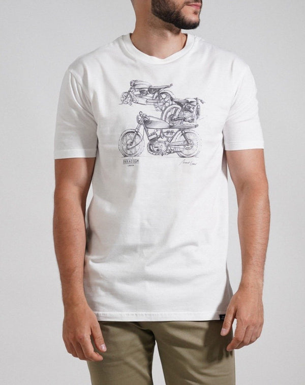 Motorbike Sketch T-Shirt - Life in Paradigm Menswear London